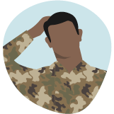 Illustration of a Service member scratching his head